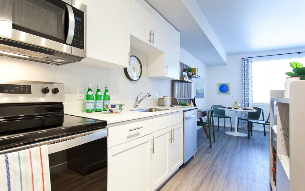 spacious kitchen with ample counter-space and easy access to dining room